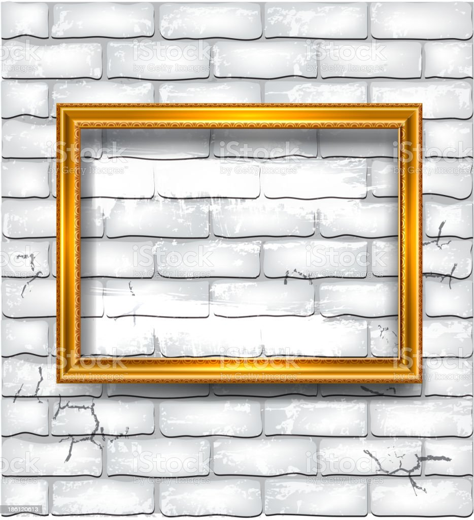 Frame on the white brick wall royalty-free stock vector art