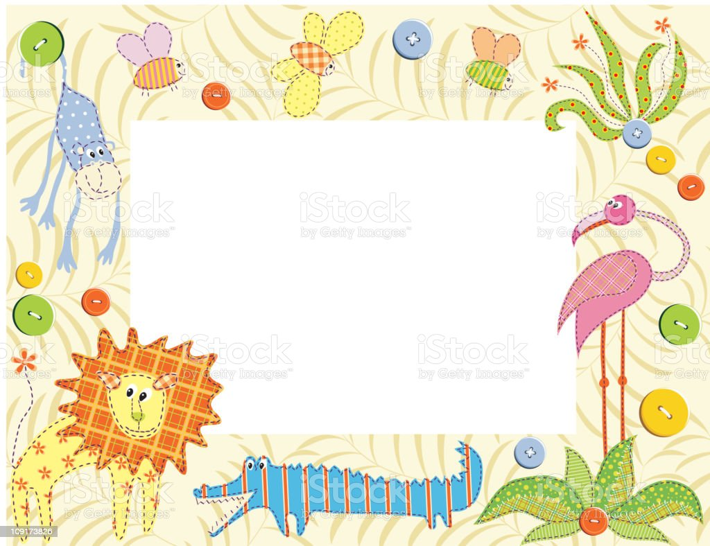 Frame or card with animals royalty-free stock vector art