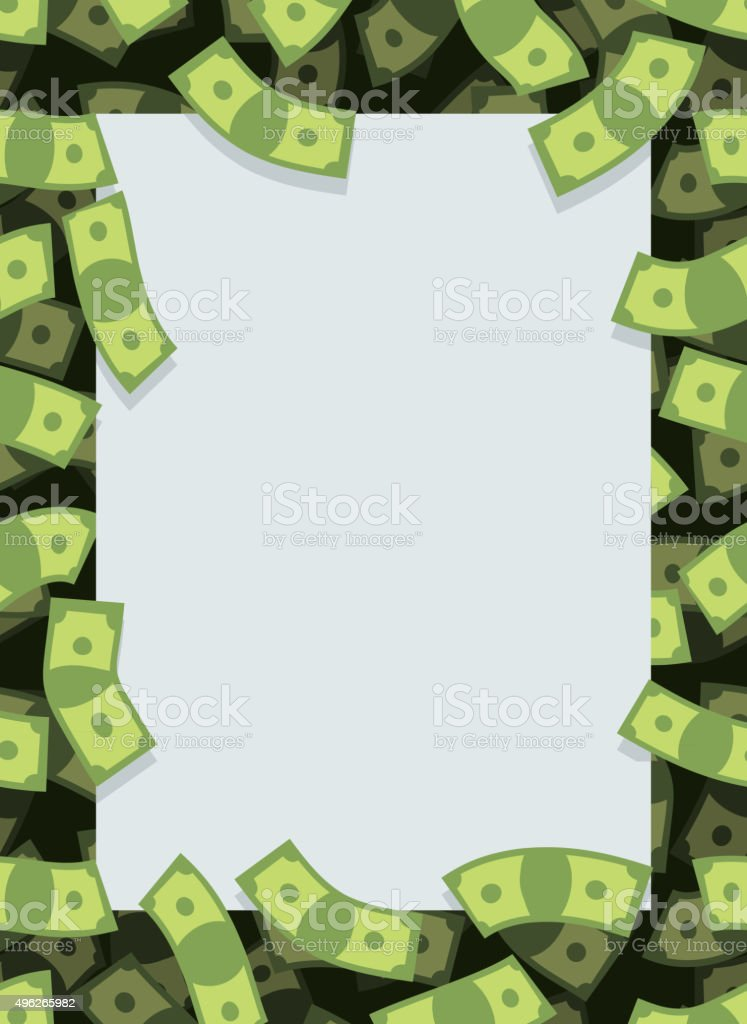 Frame out of money. Many dollars flying. Space for text vector art illustration