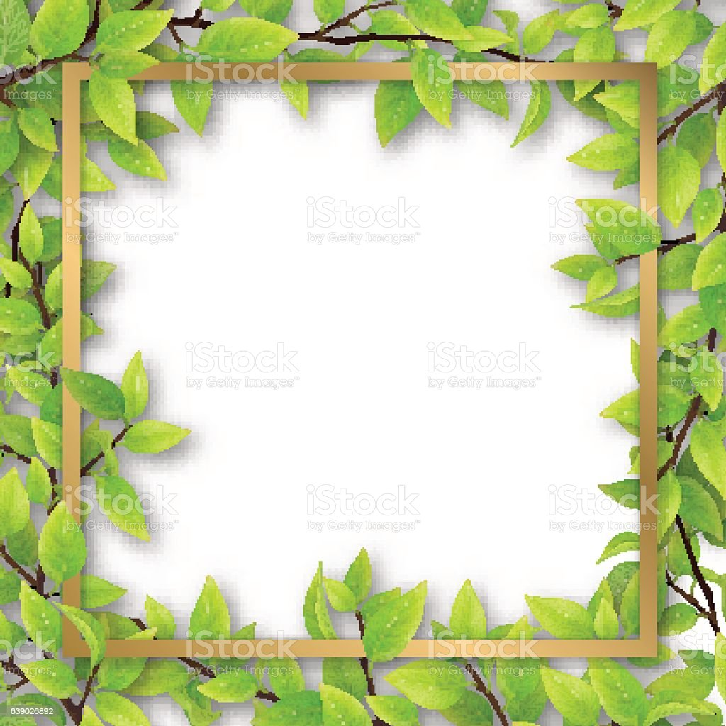 frame overgrown tree branches vector art illustration