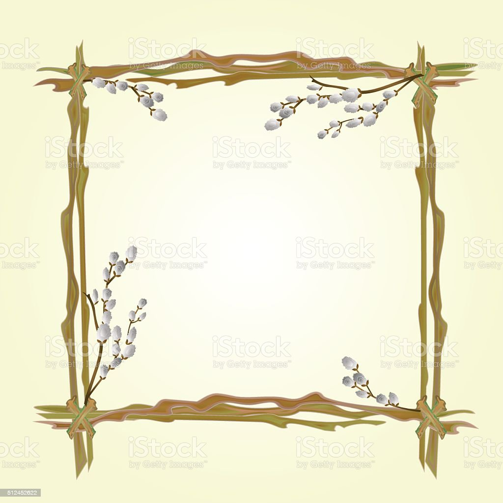 Frame pussy willow branch spring background vector vector art illustration