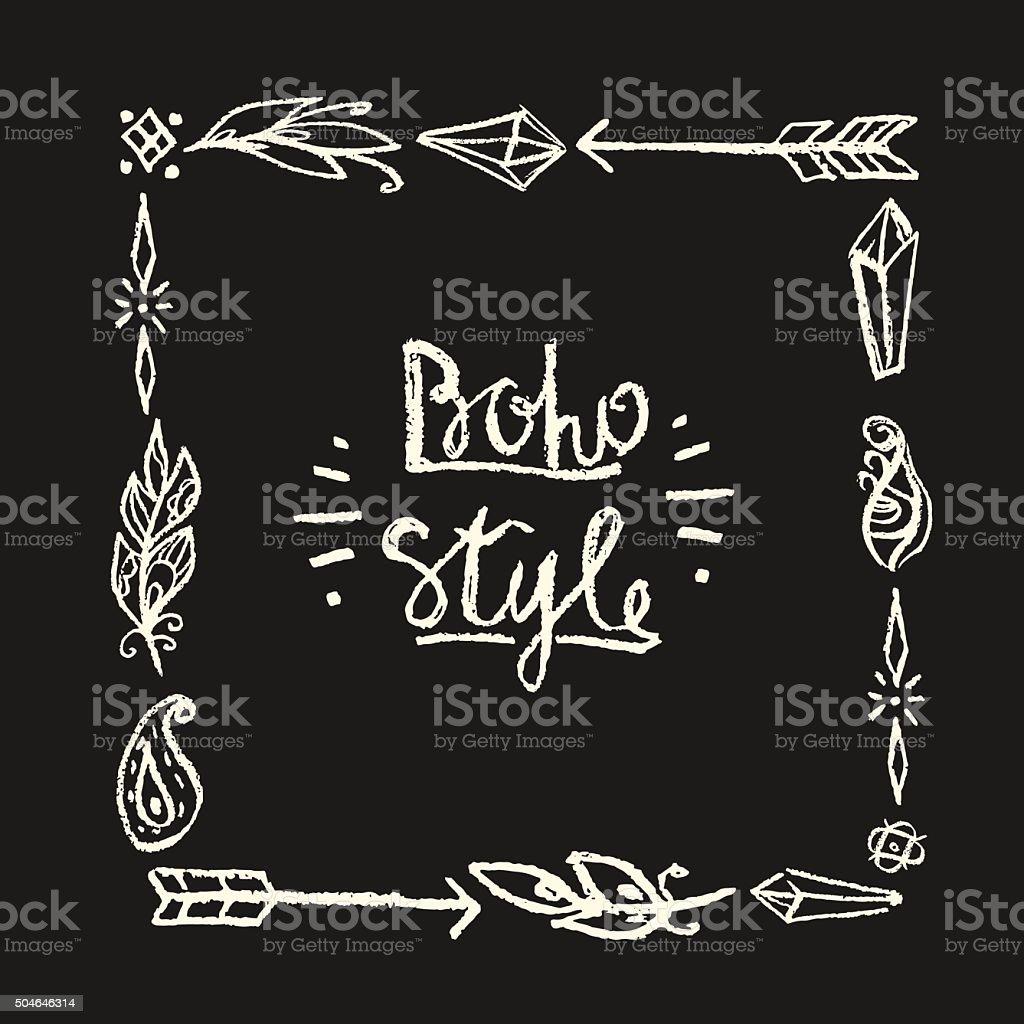 Frame square drawn in chalk in boho style. vector art illustration