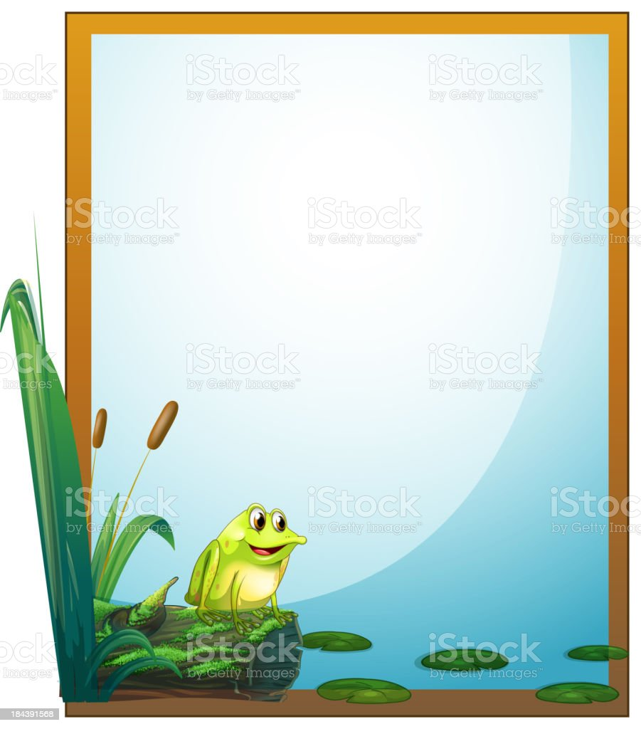 frame with a frog in the pond vector art illustration