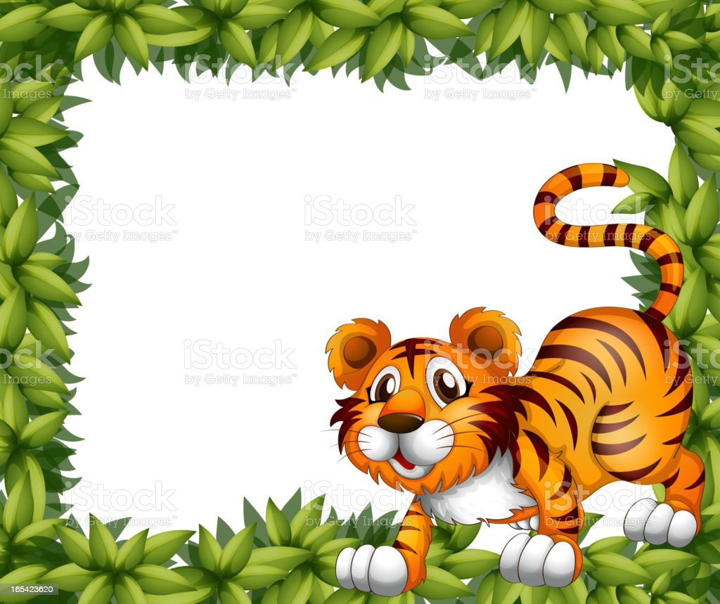 Frame with a tiger royalty-free stock vector art