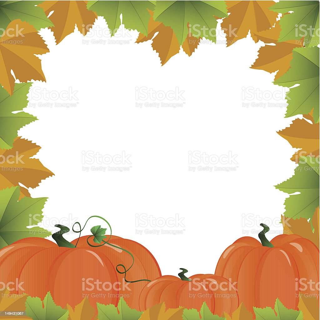 Frame with autumn leafs and pumpkin vector art illustration