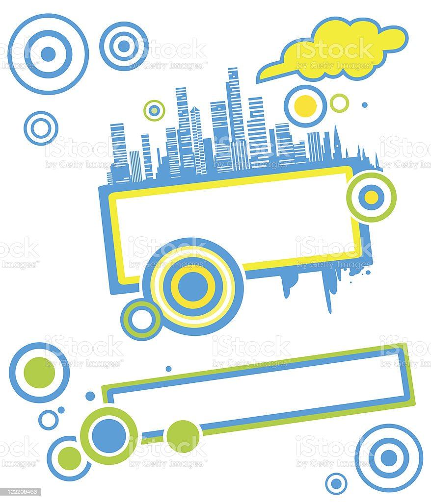 Frame with blue skyscrapers vector art illustration