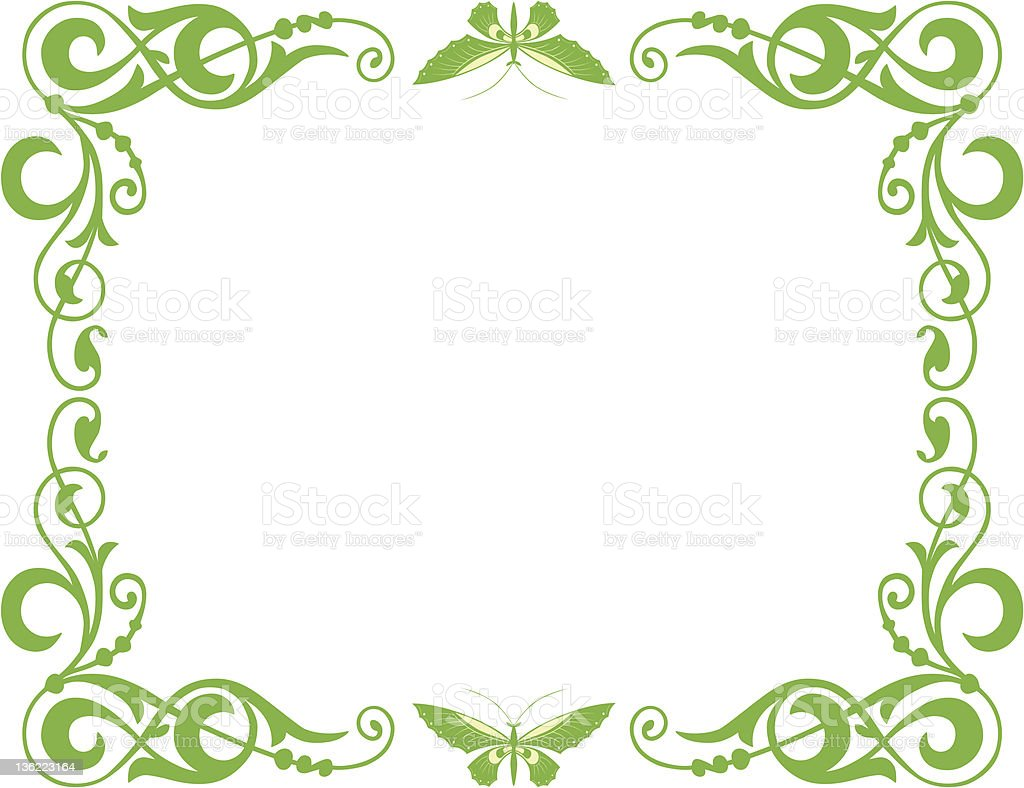 frame with butterflies royalty-free stock vector art