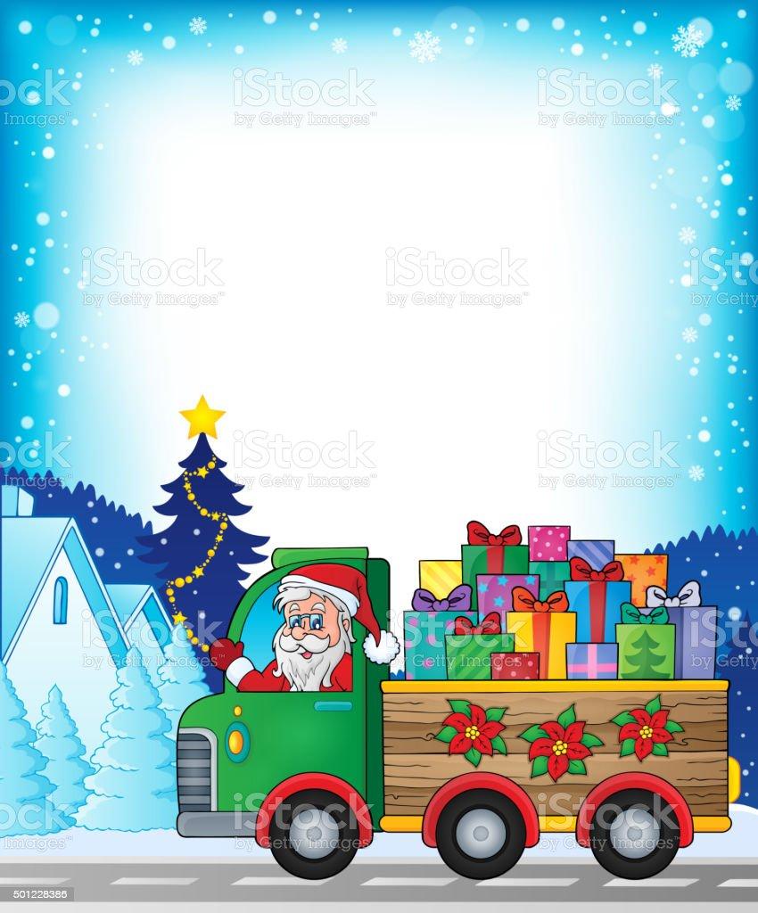 Frame with Christmas truck theme 1 vector art illustration