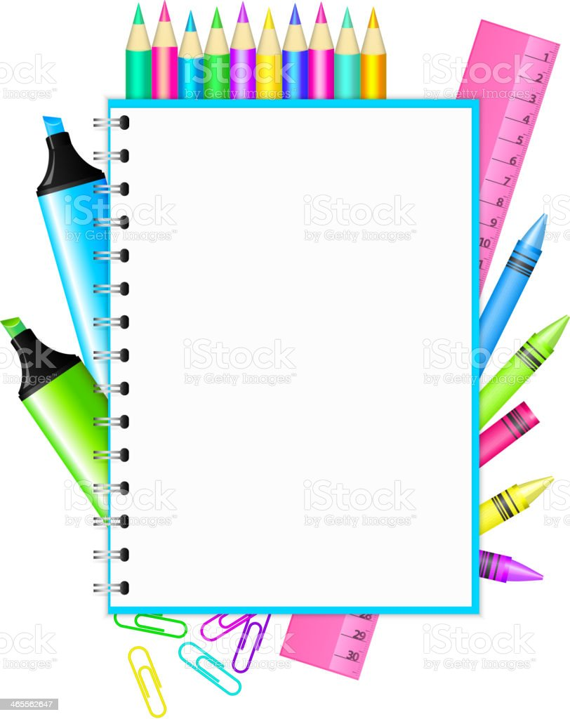 frame with colorful stationery royalty-free stock vector art