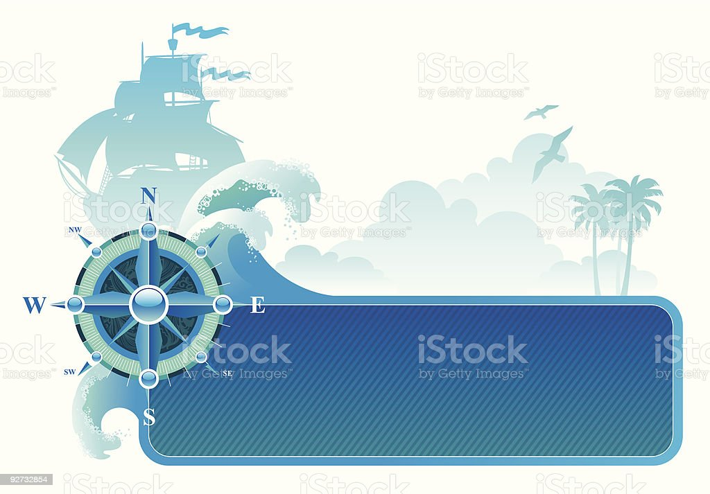 Frame with compass rose vector art illustration