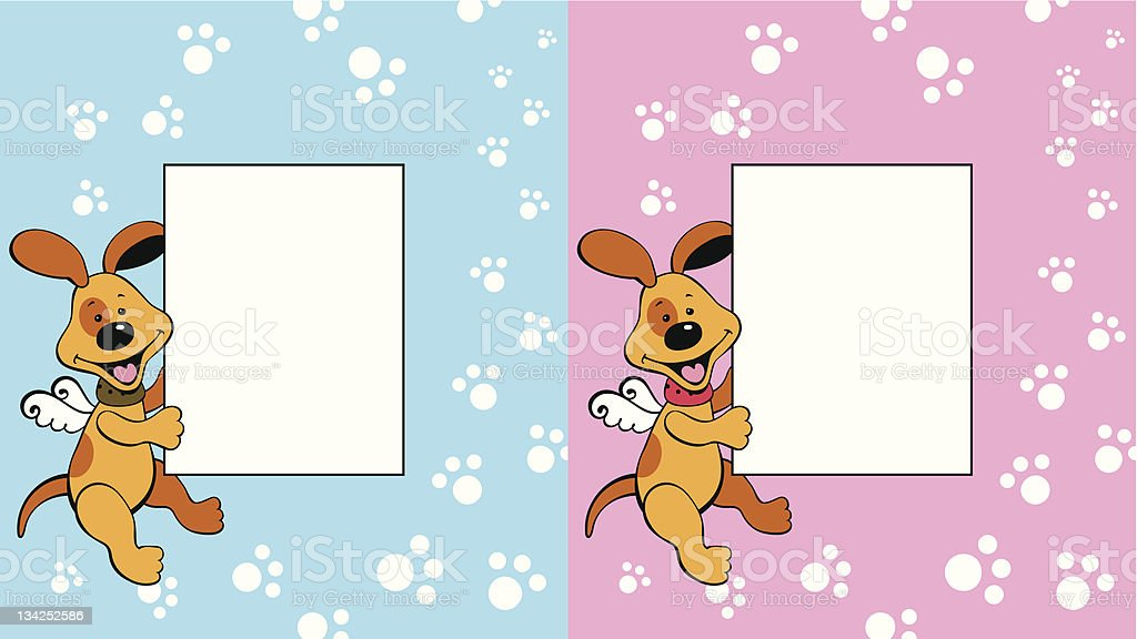 frame with doggy-angel royalty-free stock vector art