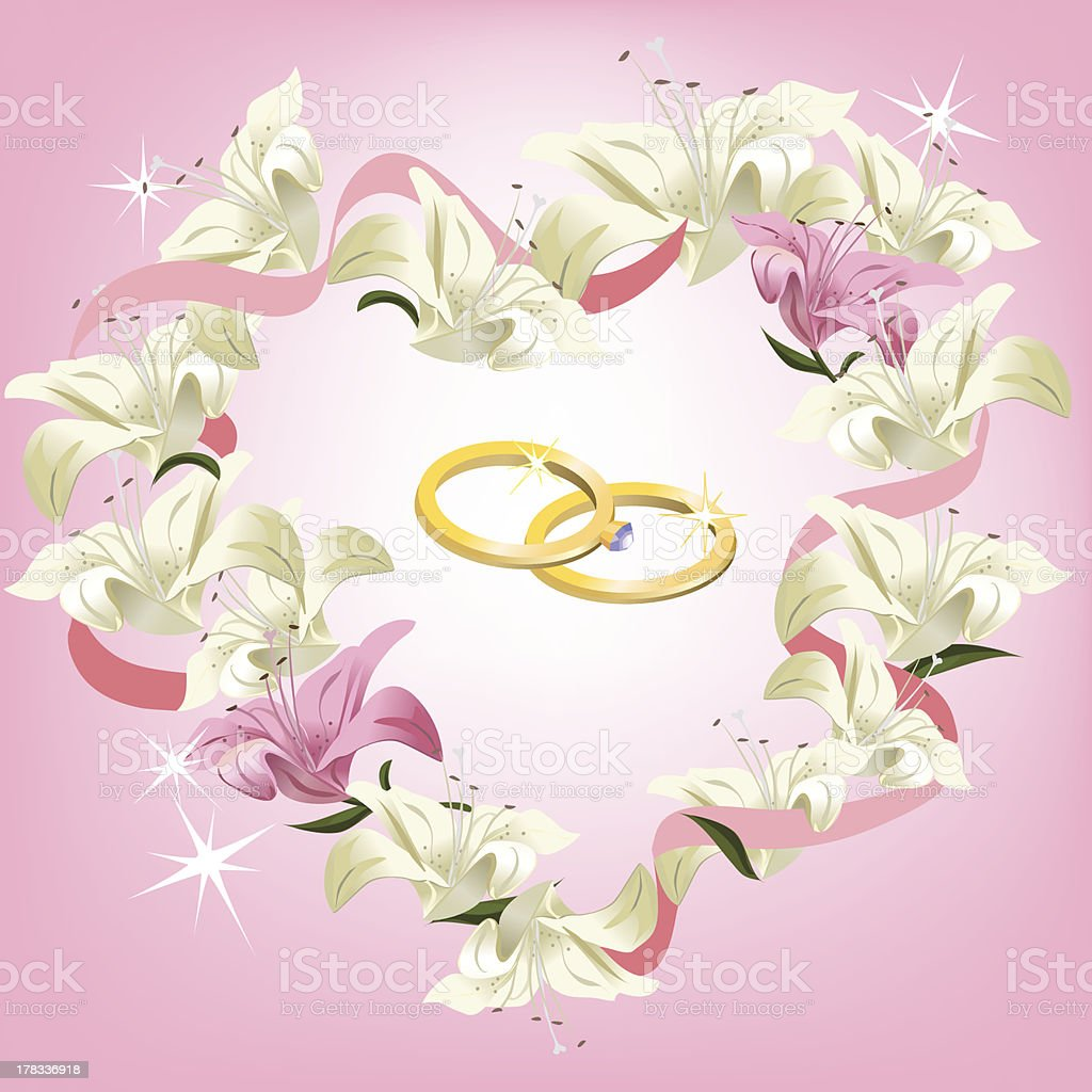 frame with flowers and wedding rings royalty-free stock vector art