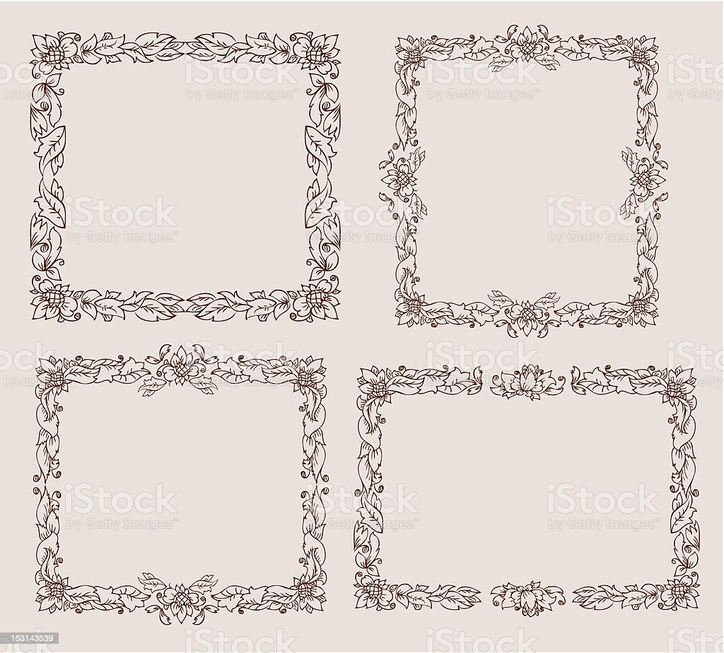 frame with foliate ornament doodles royalty-free stock vector art