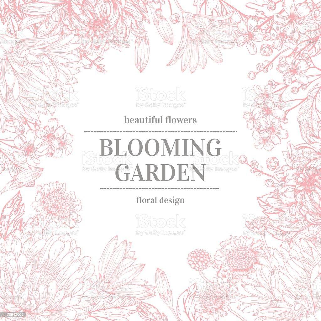 Frame with garden flowers. vector art illustration