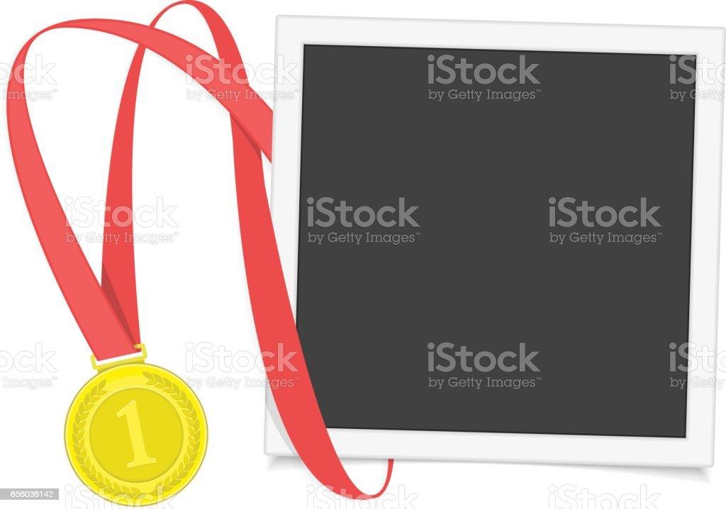 Frame with gold medal. vector art illustration