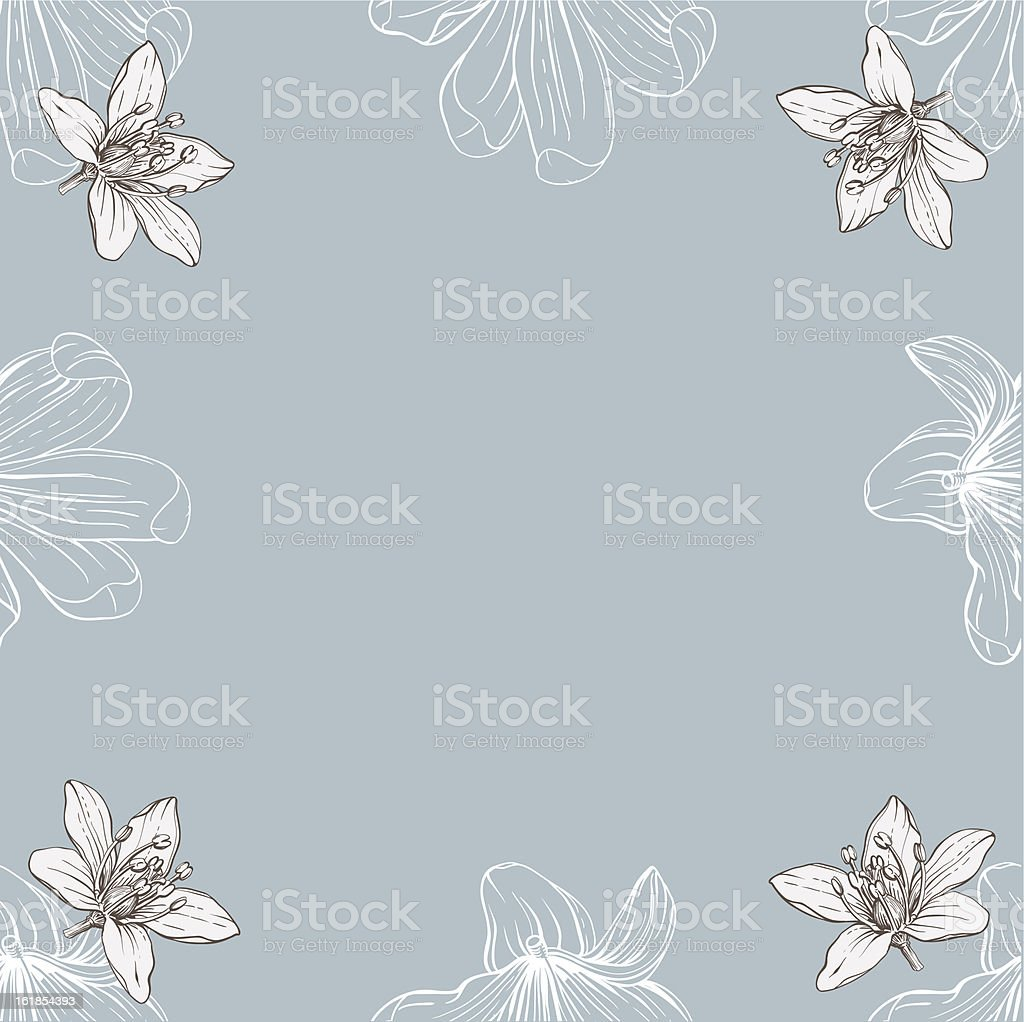 frame with hand drawn flowers royalty-free stock vector art