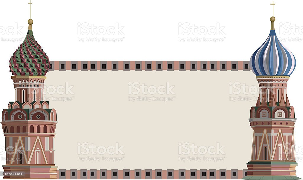 Frame with Kremlin Towers royalty-free stock vector art