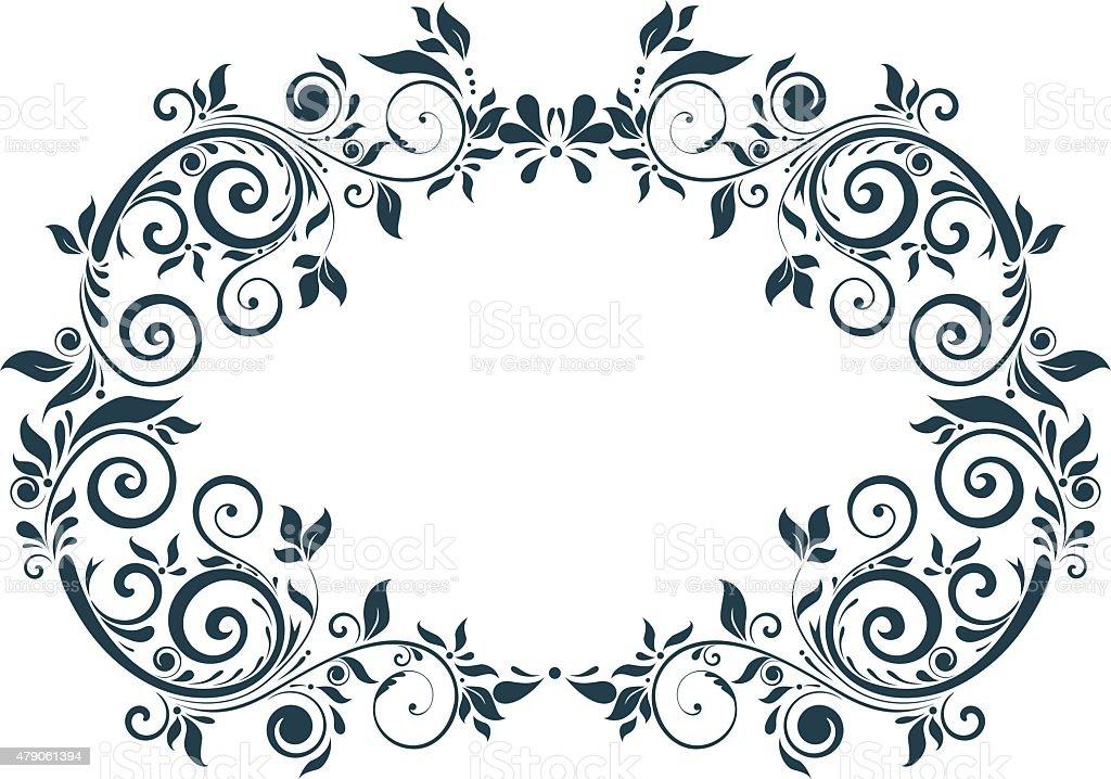 frame with leaves vector art illustration