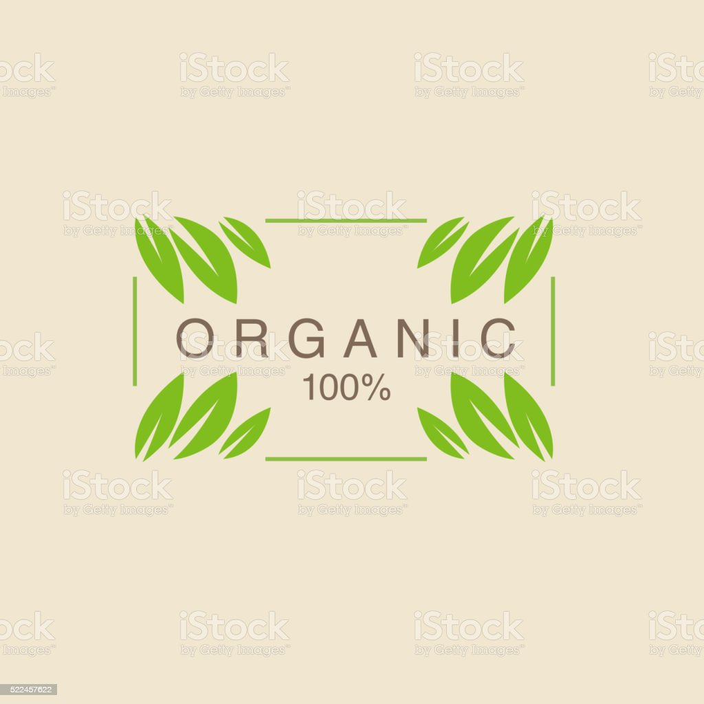 Frame With Leavs in Corners Organic Product Logo vector art illustration