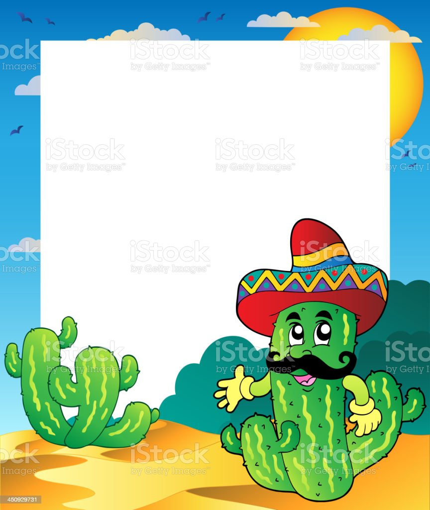 Frame with Mexican cactus royalty-free stock vector art