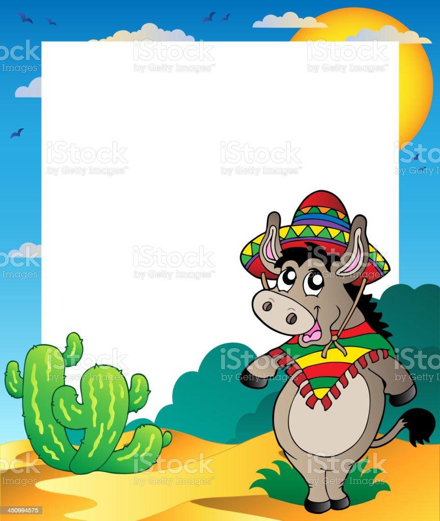 Frame with Mexican donkey royalty-free stock vector art