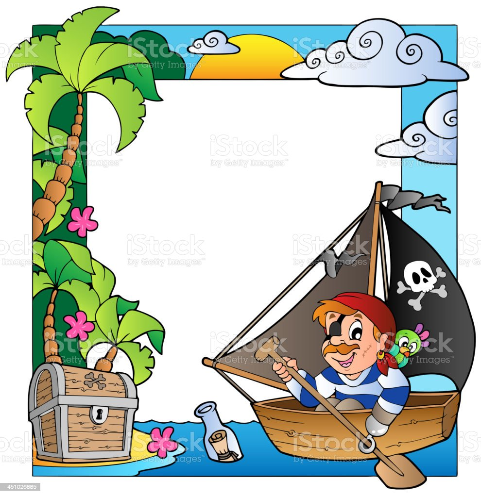 Frame with sea and pirate theme 5 royalty-free stock vector art