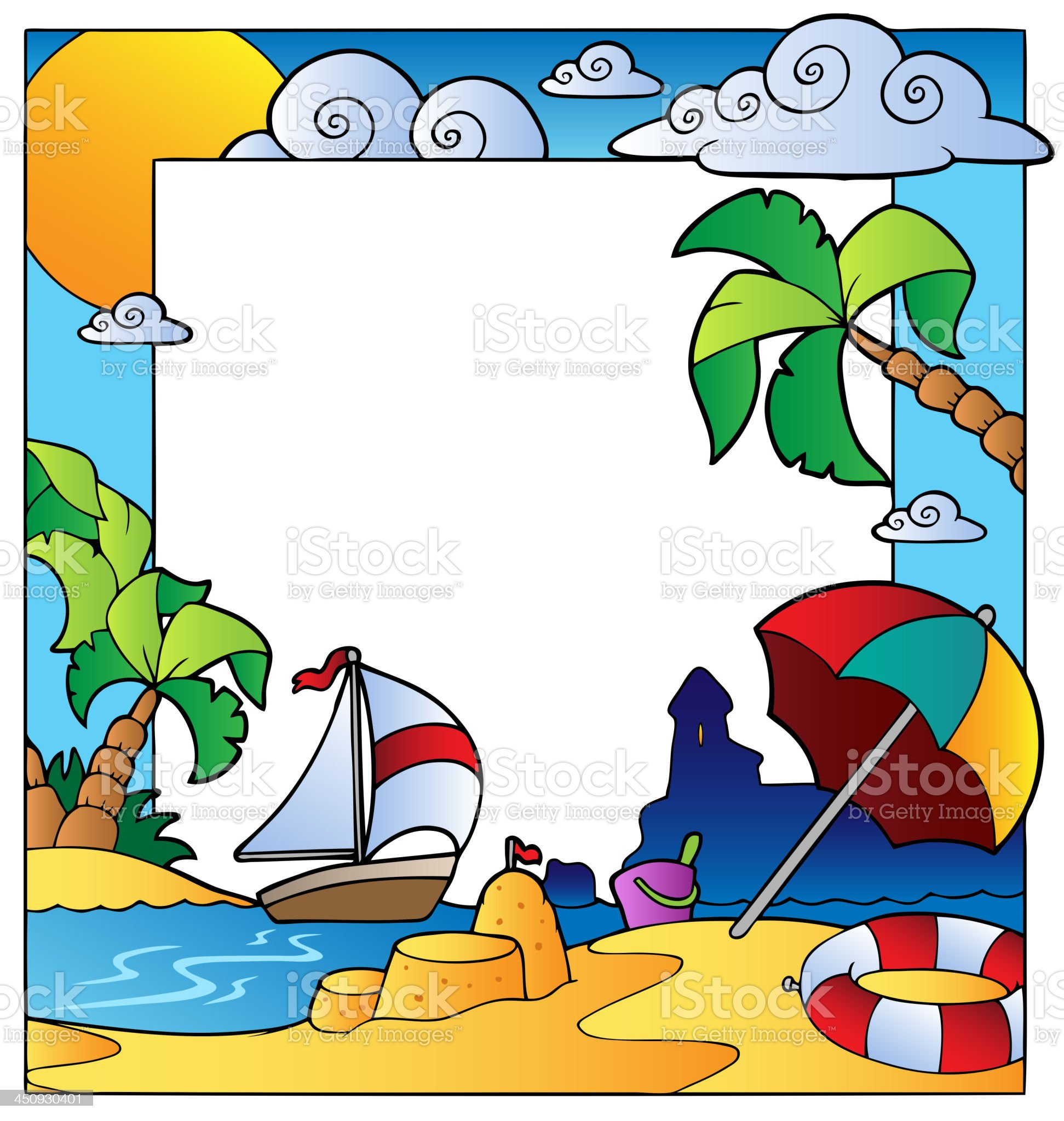 Frame with summertime theme 1 royalty-free stock vector art