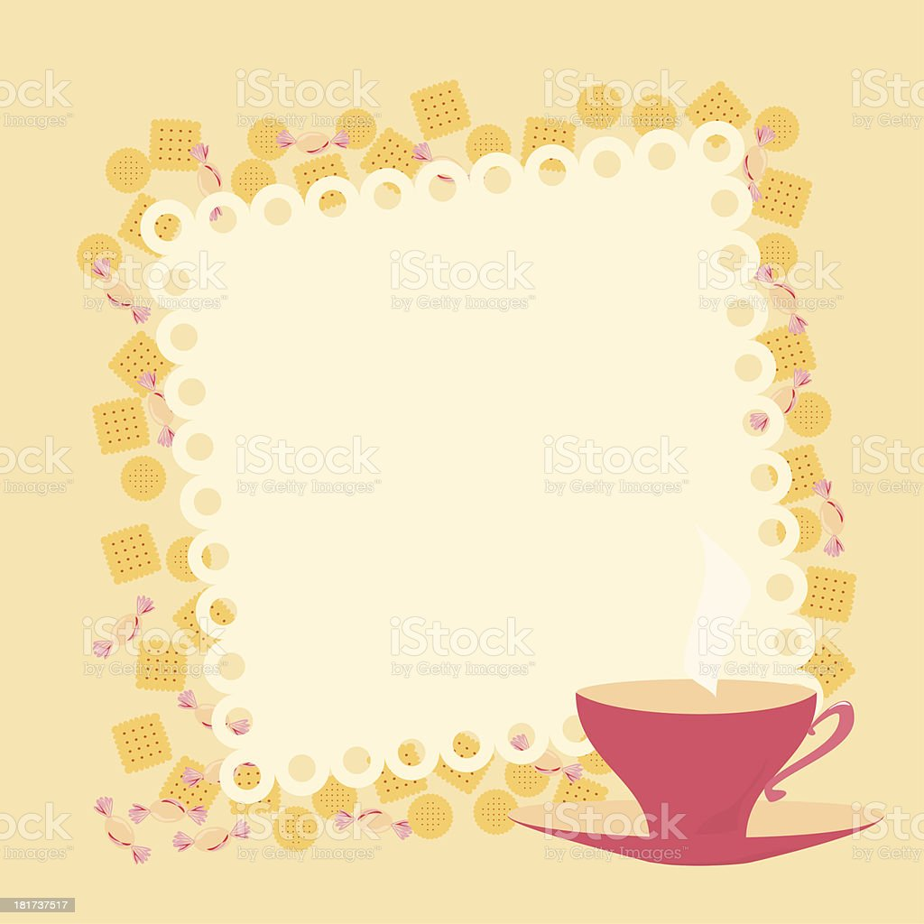 frame with teacup and cookies royalty-free stock vector art