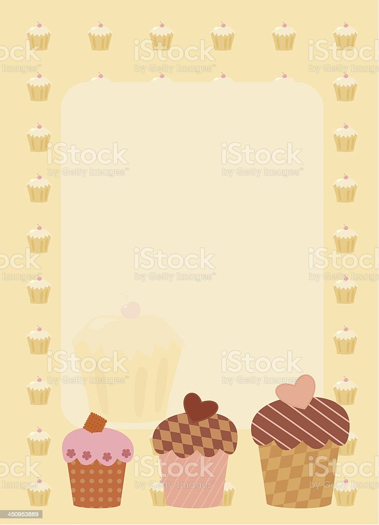 frame with three cupcakes royalty-free stock vector art