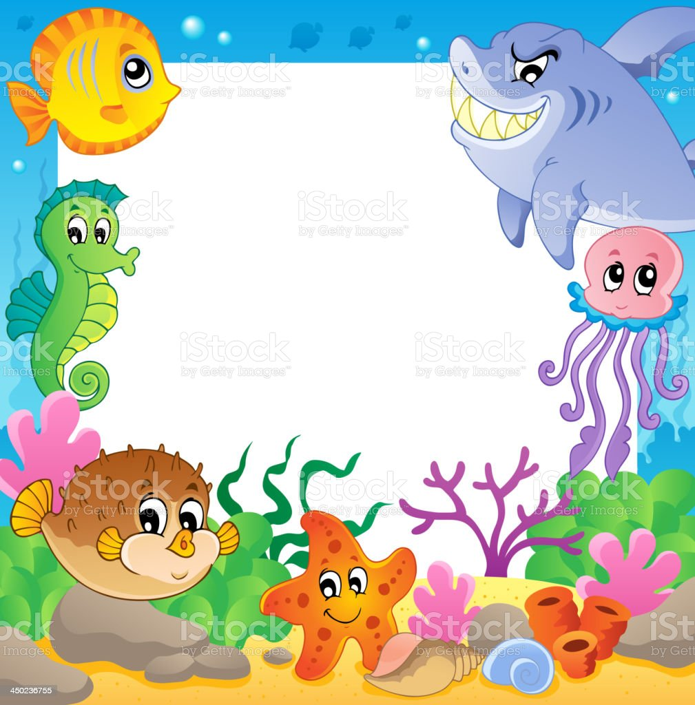 Frame with underwater animals 2 royalty-free stock vector art