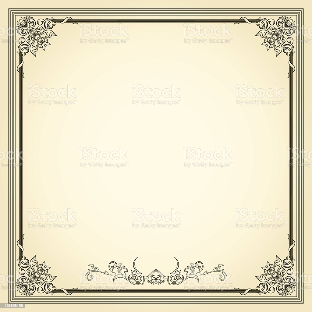 Frame with vintage design and cream background royalty-free stock vector art