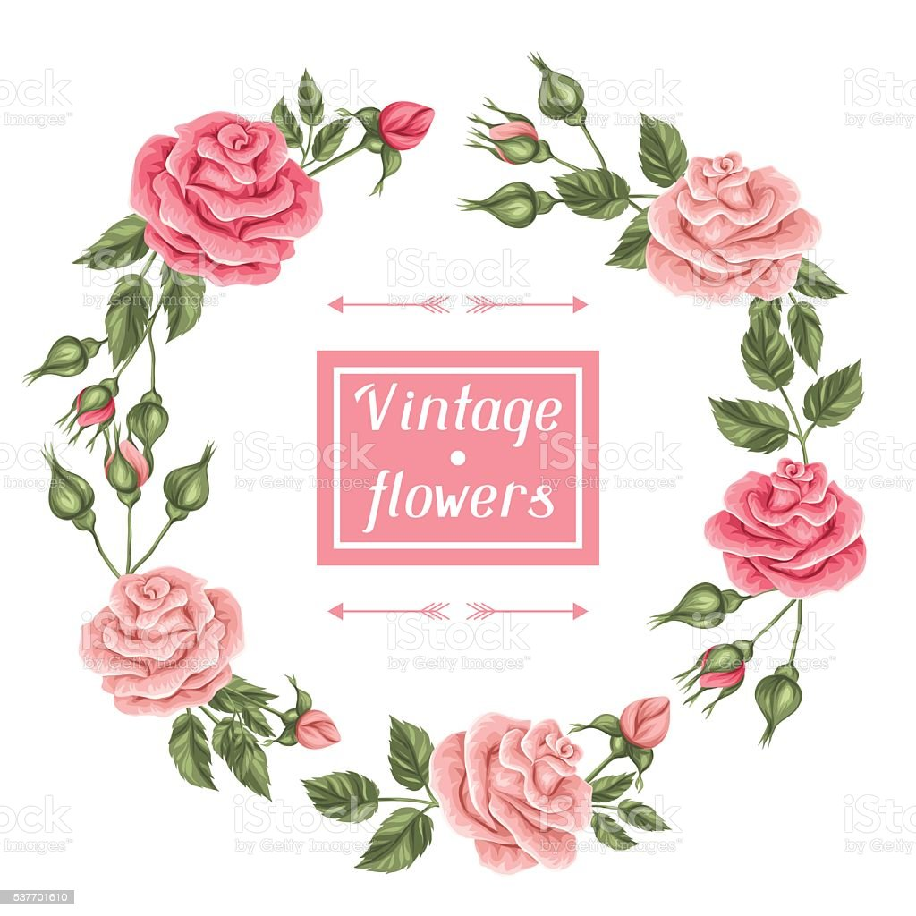 Frame With Vintage Roses Decorative Retro Flowers Image For Wedding stock vector art 537701610