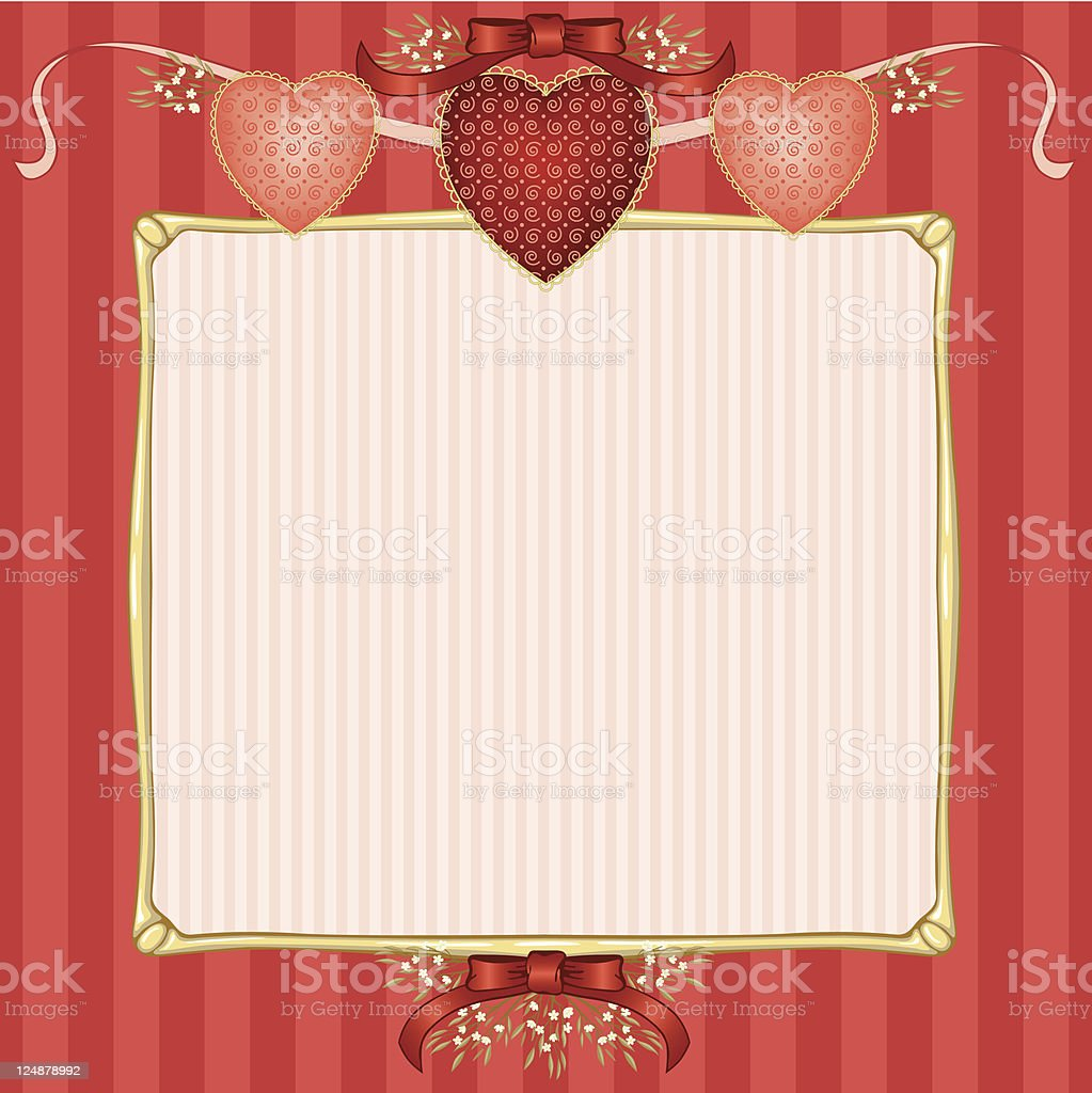 Framed Valentine Layout with Three Hearts royalty-free stock vector art