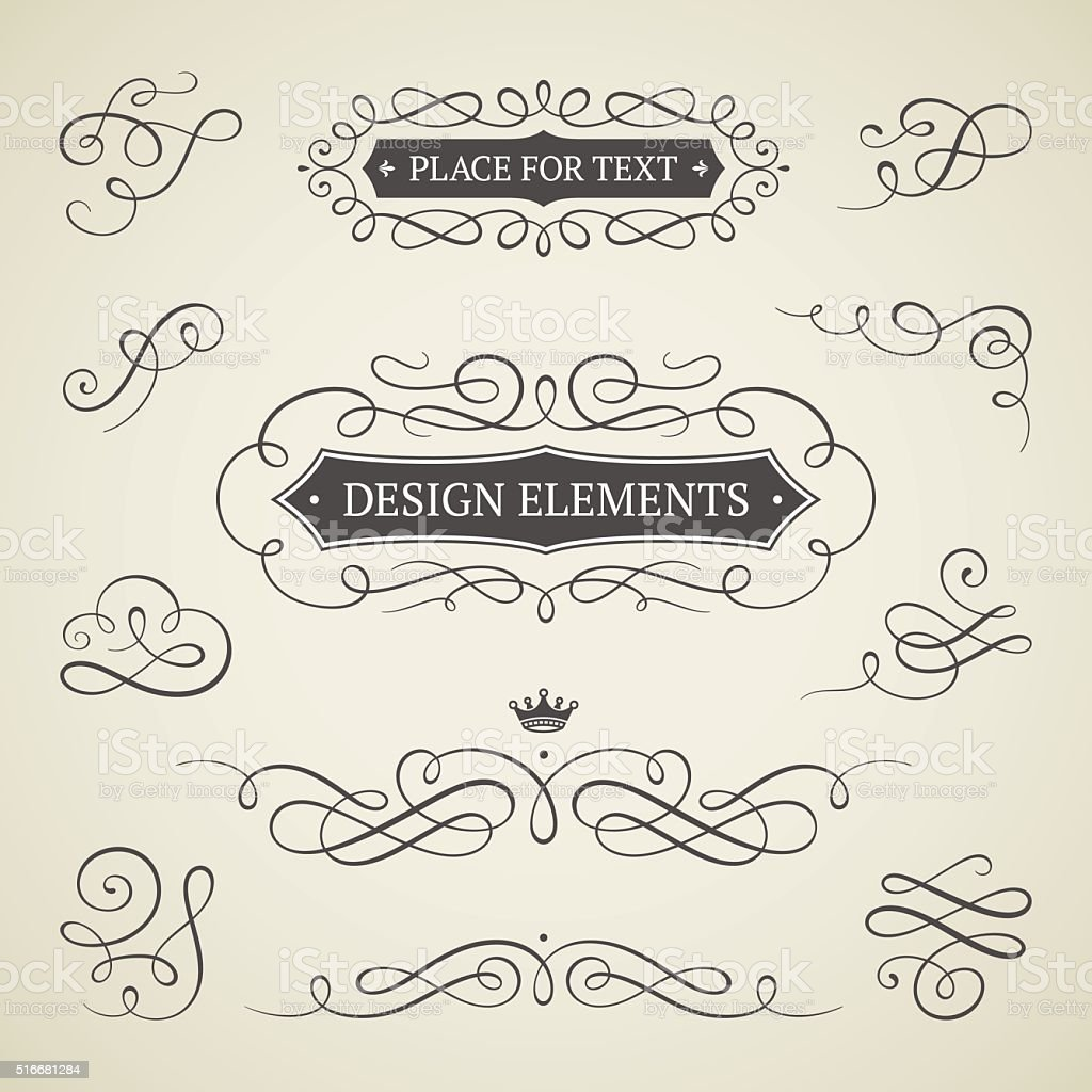 Frames and scroll elements vector art illustration