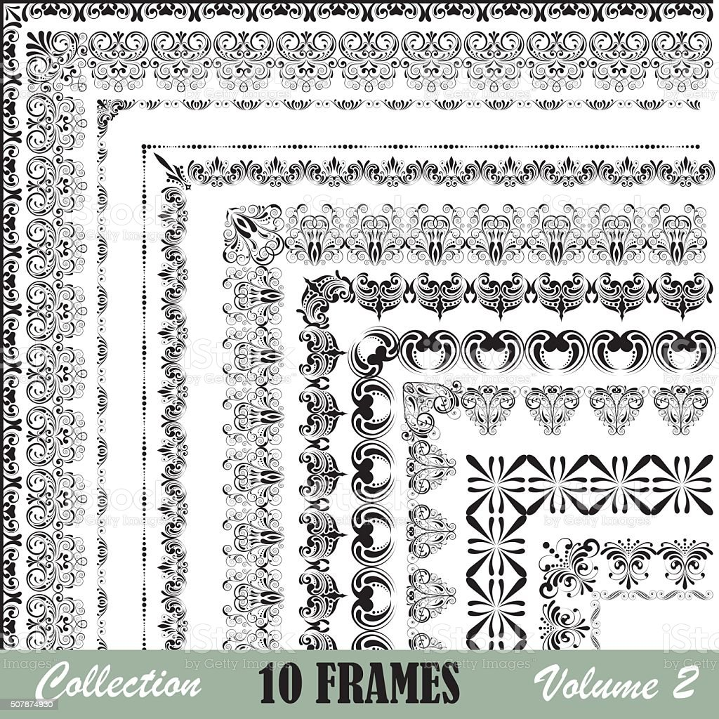 Frames collection vector art illustration