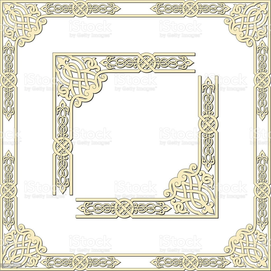 Frames of medieval style vector art illustration