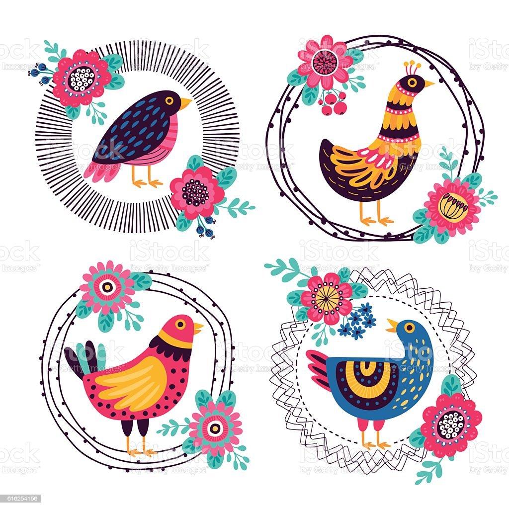 Frames With Decorative Birds stock vector art 616254156 | iStock