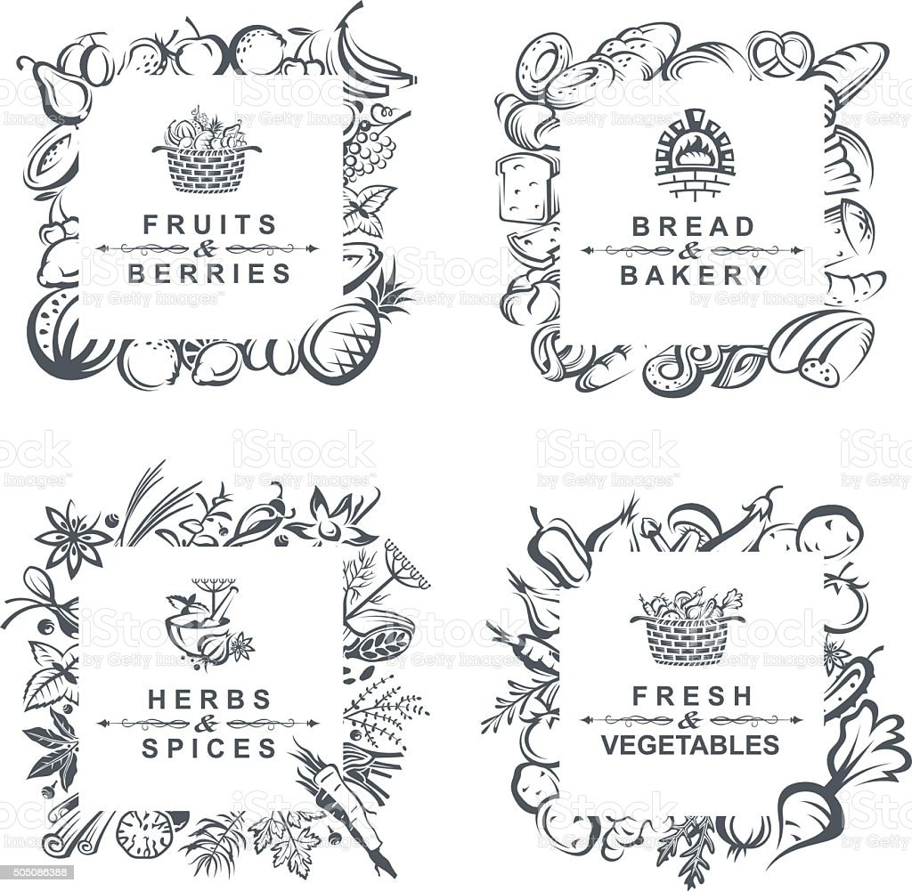 frames with fruits, vegetables, bakery and spices vector art illustration