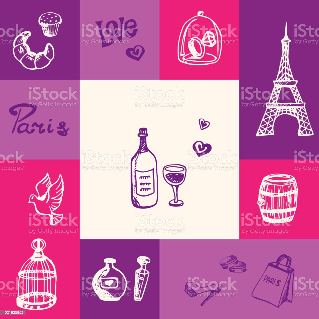 France and Paris Squared Doodle Vector Concept vector art illustration
