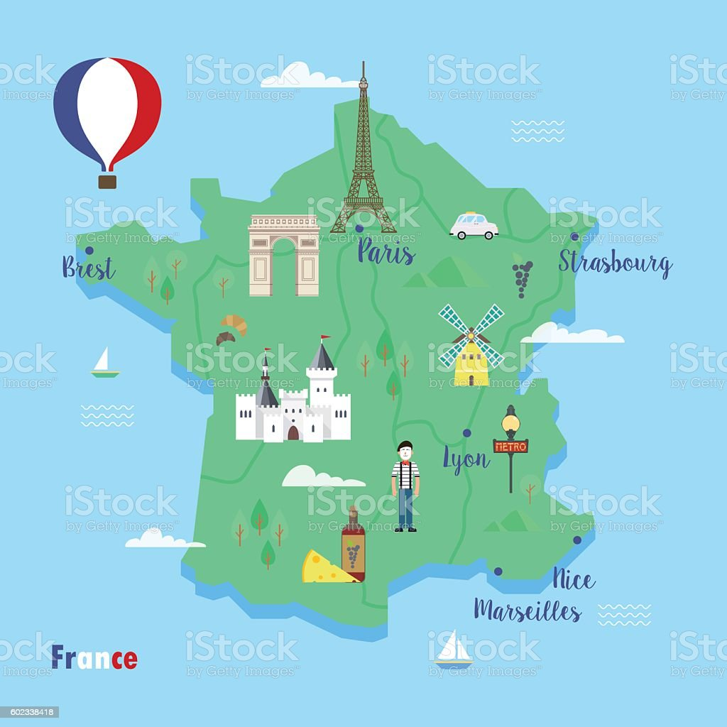 France. Colorful travel maps with popular landmarks. vector art illustration