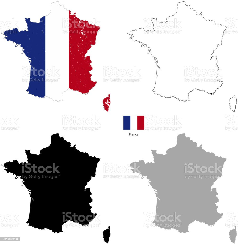 France country black silhouette and with flag on background vector art illustration