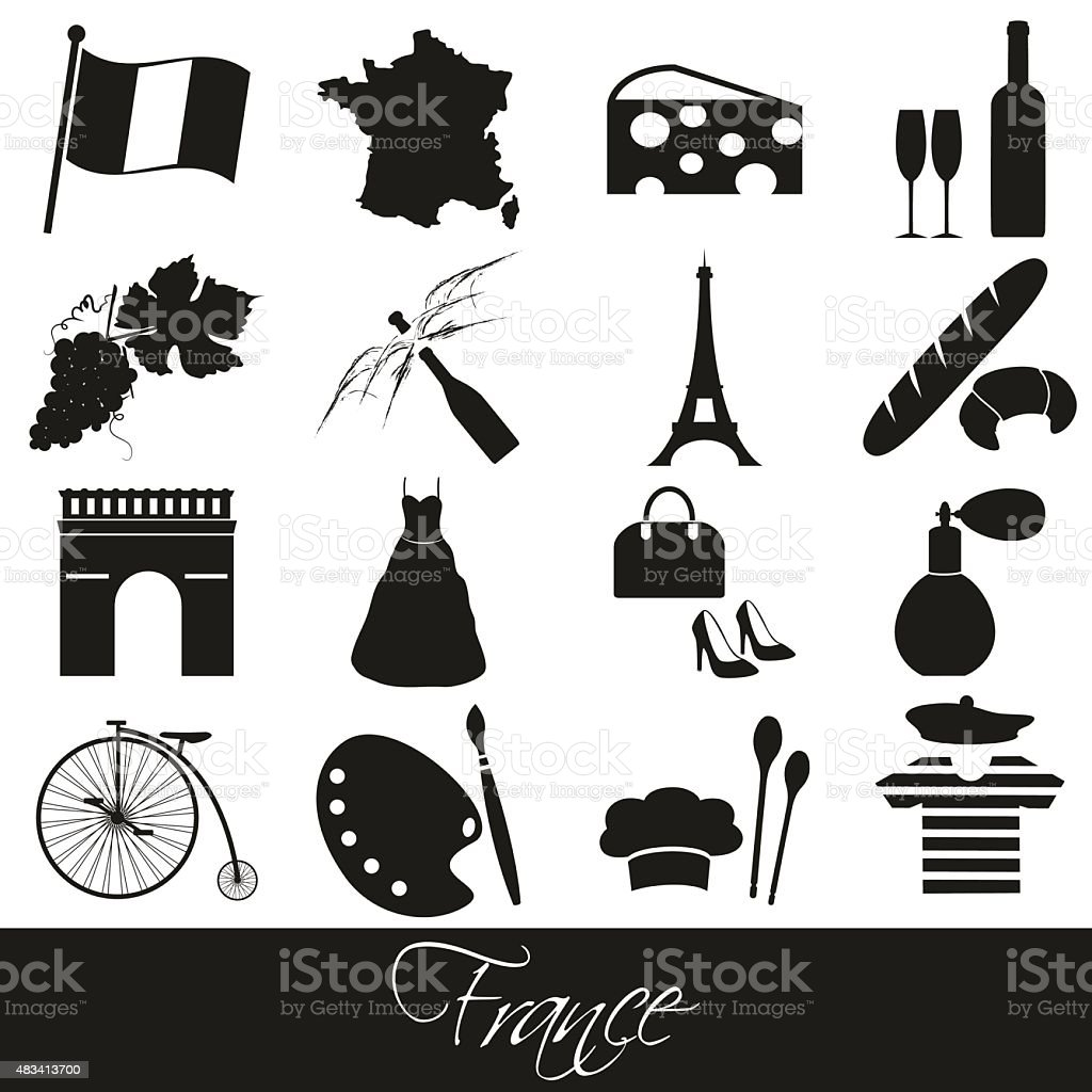 france country theme symbols and icons set eps10 vector art illustration