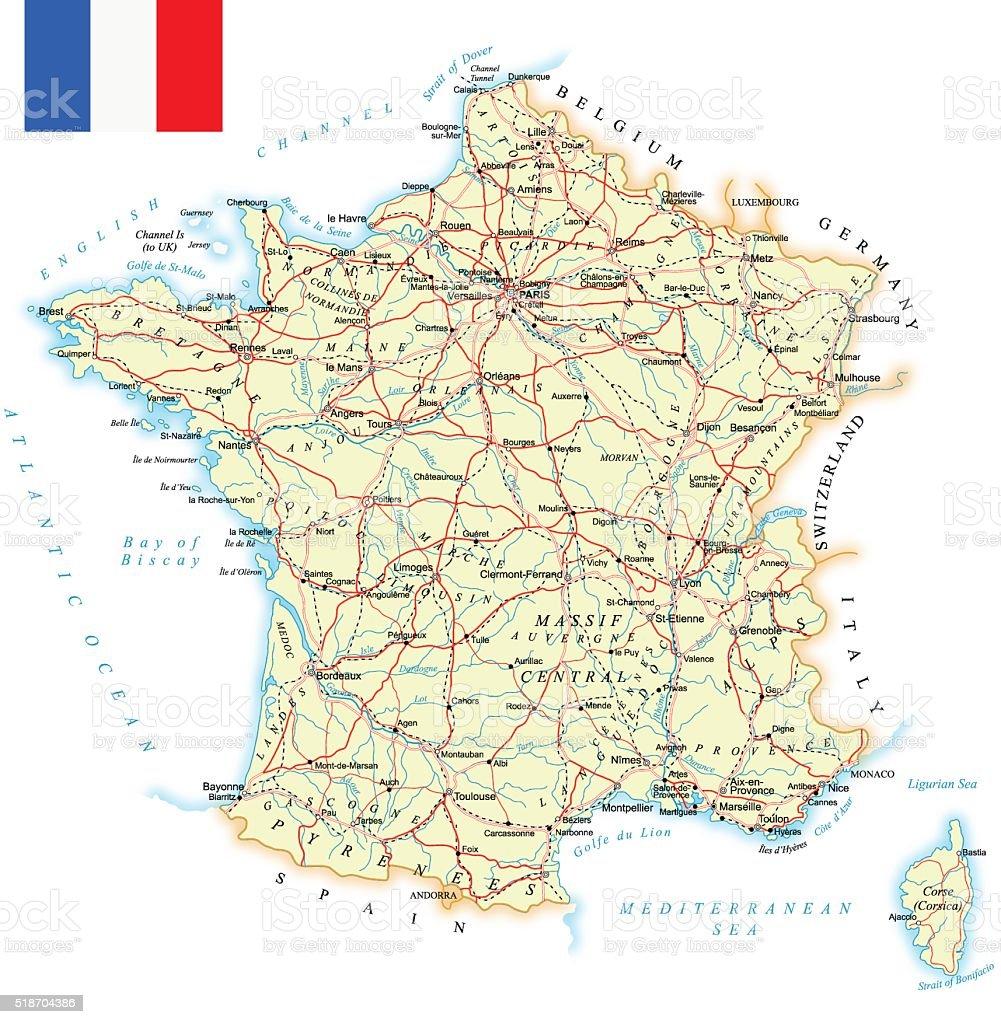 France - detailed map - illustration vector art illustration