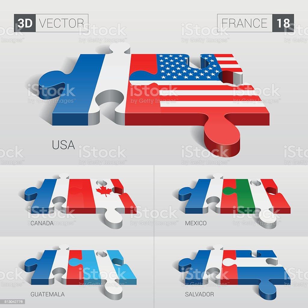 France Flag. 3d vector puzzle. Set 18. vector art illustration