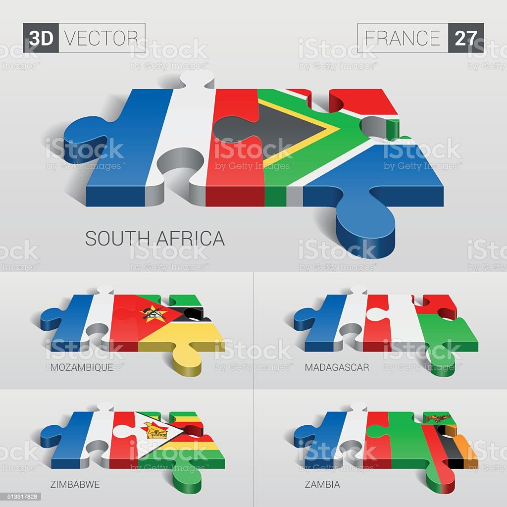 France Flag. 3d vector puzzle. Set 27. vector art illustration