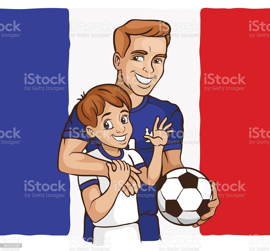 France football family vector art illustration