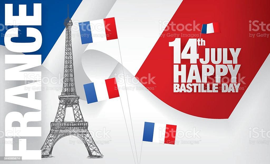France. Fourteenth of July. Happy Bastille Day. vector art illustration