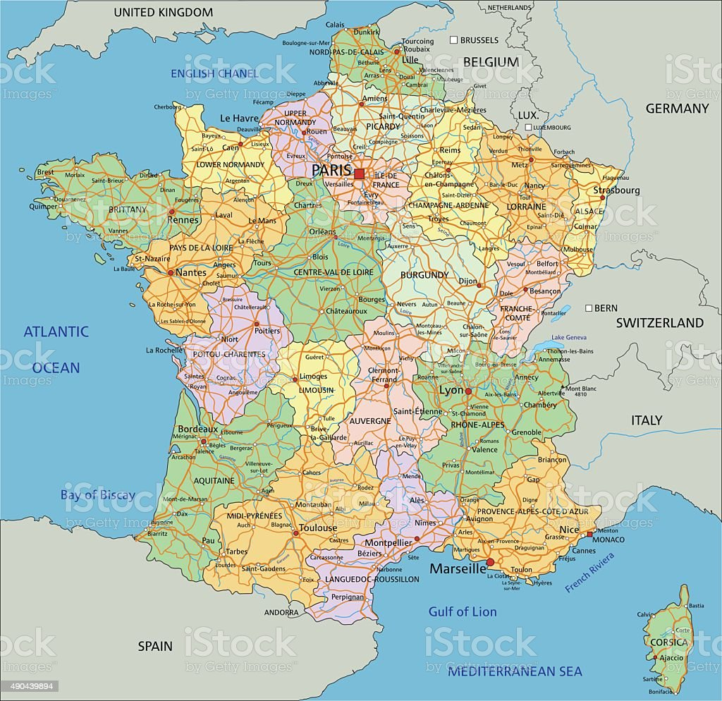 France - Highly detailed editable political map. vector art illustration