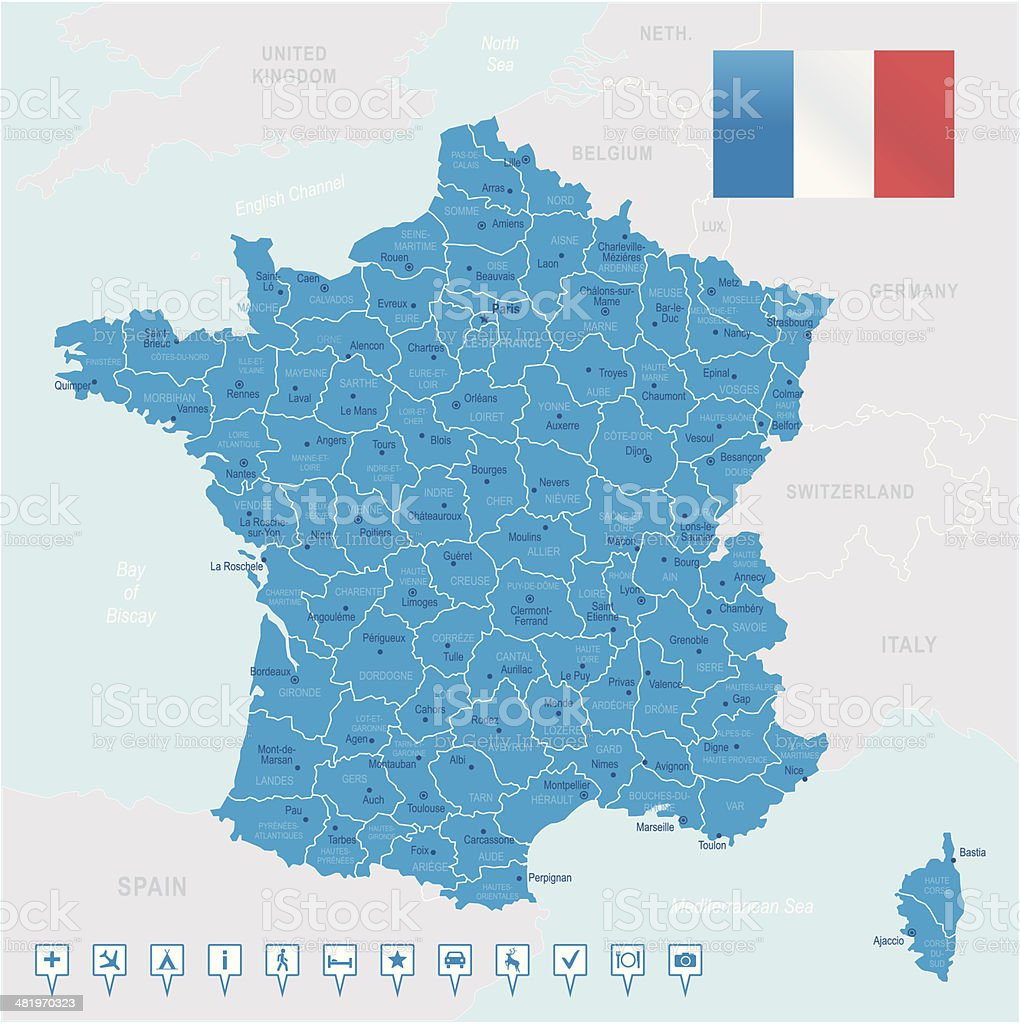 France - highly detailed map royalty-free stock vector art