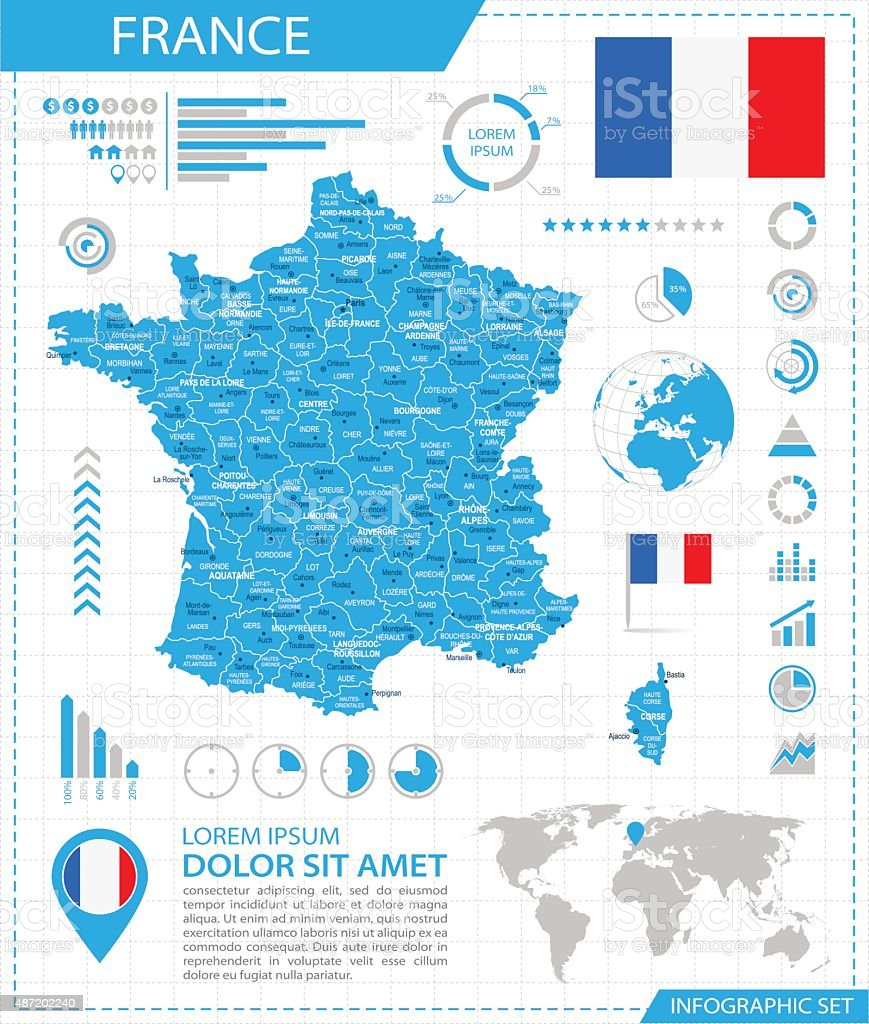 France - infographic map - Illustration vector art illustration